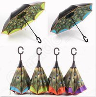 Wholesale Peacock Inverted Umbrella Double Layer Reverse Rainy Sunny Umbrella with C Handle Upside Down Umbrellas designs LJJO1290
