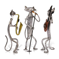 article cat - TOOARTS Metal Sculpture A Playing Guitar Cat Home Furnishing Articles Handicrafts Home Garden A009