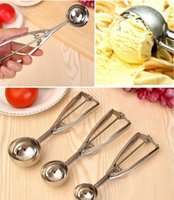 Wholesale Ice Cream Scoop Stainless Steel With Trigger Cookie Spoons fruit spoons ZJ