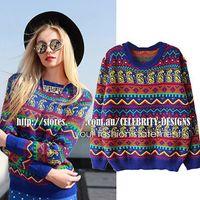 aztec knitwear - SW94 Women Tribal Aztec Digital Print Fitted Knitted Sweater Jumper Tops Pullover Knitwear New
