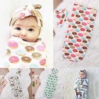 Wholesale Baby Sleeping Bags Headband Deer Donut Feather Print Children Cotton Swaddle Blankets Newborn Fashion Infant Set New