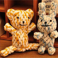 Wholesale Braided Rope Knot dog Toy Durable weave bear yellow duck rabbit Dog Toys Cat Pet Cotton rope DHL free PD020