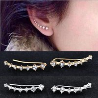 Wholesale Hot high quality personalized fashion female new two color seven diamond celadon earrings
