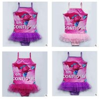 bathing suits kid - Trolls One Pieces Girls Swimwear Net yarn Swimsuit Kids Ruffled Swimming Suit For Girl Children Bathing Suit Birthday Gifts