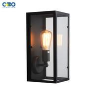 Wholesale Vintage Iron Glass Box Wall Lamp Outdoor Waterproof Lighting Bedroom Wall Light E27 Lamp Holder V