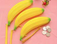 Wholesale Portable Creative Lovely Silicone Yellow Banana Coin Purse Money Bag Wallet Key Bag Gift Hand Bags