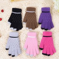 Mittens Unisex 6-12M HOt sell Pure color wave point wool touch screen gloves Ms knitted gloves gloves to keep warm winter antifreeze