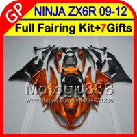 al por mayor 7gifts zx6r-7gifts Para KAWASAKI NINJA ZX 6 R ZX636 09-12 ZX6R 09 10 11 12 naranja brillante 5GP72 ZX 636 ZX-6R ZX 6R 2009 2010 2011 2012 naranja negro Carenado