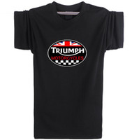 Men Crew Neck Short Sleeve Triumph design T shirt Motorcycle badge short sleeve Rider team tees Leisure punk clothing Elastic cotton Tshirt