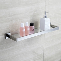 Wholesale BLH81805 Glass Bathroom Shelves Shampoo Holder Stainless Steel Shelf for Bathrooms Corner Rack Wall Shelf Bathroom Accessories
