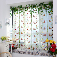 Wholesale New Butterfly Pattern Door Roman Window Sheer Floral Curtain Drape Voile Valances