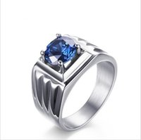 Wholesale Men Rings Wedding Rings for Men White Gold Plated Blue Cubic Zirconia Engagement Rings High Quality