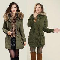 Wholesale women down parkas lady winter clothing girl s outerwear Faux fur lining women s fur jackets Overcoat coat coats Tops