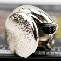 Wholesale Portable Metal Round Cigarette Ashtray with Key Chain Ring Keyring Easy to carry Silver Pocket Ashtrays Random Patterns