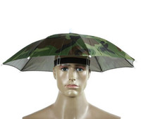 Wholesale Camouflage Foldable Headwear Sun Umbrella Fishing Hiking Beach Camping Headwear Cap Head Hats Outdoor Sport Umbrella Hat Cap