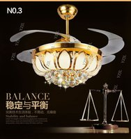 Wholesale Golden crystal LED inch ceiling chandelier fan lights Fan chandelier with controller living room bedroom dining room fashion