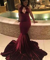 african prom dresses - South African Velevt Burgundy Prom Dresses New Sexy Halter Keyhole Neck Backless Long Evening Gowns Red Carpet Gowns Custom BA4439
