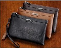 Wholesale men s leather handbag phabing wrist bag leather business large head layer cowhide hand bag long Mobile Phone Wallet black