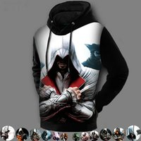 Wholesale Winter Fashion Design D Printed Hooded Jackets Assassins Creed Hoodie Sweatshirt Assasins Creed Pullover Fleece Lined Coat