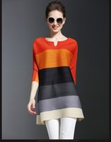 Wholesale Ladies Dress Autumn And Winter Striped Casual Dress long sleeved elastic Tight dress women rainbow Dress