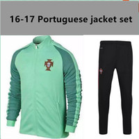 Wholesale Fast European cup Portugal Red Light Green Jackets clothes out tracksuit coat Football Training soccer Jacket Jersey set