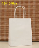 Wholesale Elegant White Paper gift bag Small size Kraft gift bags with handle Excellent Quality x15x8cm