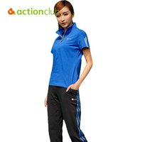 Wholesale Actionclub Running Sets For Gym Summer Counple Outdoor Sportwear Pants T Shirt Two Pieces Sport Suit Tracksuit For Women SR278