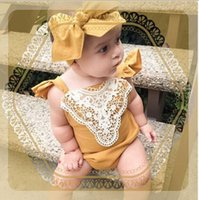 Wholesale Baby Girls Lace Embroidery Halter Rompers Cute Toddler Newborn Kids Girl Fly Sleeve Rompers with Bows Headbands For M Baby