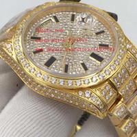 bezel diamond bracelet - Luxury High Quality K Yellow Gold Full Diamond Bezel Bands Bracelet mm Day Date II Swiss ETA Movement Automatic Mens Watch Watches