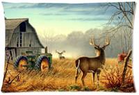 barn homes - 2pcs Custom Mist deer barn farm Animals Bird mood Pattern Zippered Cotton Polyester Pillow Case x30 Twin sides