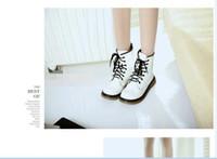 Wholesale HOT Fashion Women s Lace Up Mid Calf Boots Combat Punk Ankle Martin Boots Flat shoes Colors