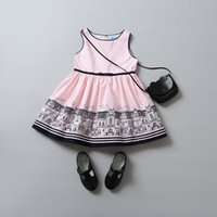architectural styles - Grils vest dress spring summer new children architectural drawings printed dress kids bow pink princess dress children clothes T1239