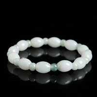 Wholesale Natural light green jade beads bracelet waxy white Burma jade bracelets LeBron genuine Beads Bracelet