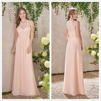 Wholesale 2017 New Elegant Crew Neck Chiffon Long Bridesmaid Dresses Sleeveless Lace Top Ruffle Floor Length Party Prom Dressses