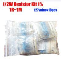 Venta al por mayor-Libre de la película de metal de 0.5W 127valuesX10pcs = 1270pcs 1 / 2W Resistor Kit 1R ~ 1M Resistor Pack