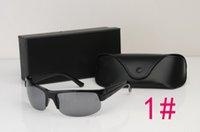 al por mayor gafas sin montura para barato-2017 Prohibición Probar Gafas De Sol ROUND OVAL Plástico Semi Rimless Aviator Gafas Con la caja de los vidrios caso de cuero de la caja del espectáculo EE.UU. Ray Barato 2605