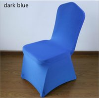 Wholesale 100 Stretch Elastic Universal Blue Spandex Wedding Chair Covers for Weddings Party Banquet Hotel Polyester Fabric