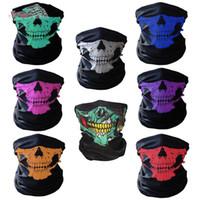 al por mayor moto cuello-Máscara de cráneo media máscara de bufanda Bandana Bicicleta de motocicleta bufandas máscara de cuello bufanda Máscara de ciclismo Cosplay Ski Biker Headband KKA1237