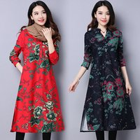 Wholesale Add hair thickening new winter cotton and linen large size ladies dress national wind long sleeved loose dress
