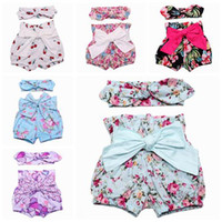 big baby diapers - baby girls summer shorts toddler flower hair bow headband big bowknot short sets kid floral stripe short pants baby bloomers diaper covers
