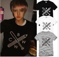 Wholesale Size S XXXL new sale exo t shirt baseball bar pencil printed Unisex t shirt BWCW suhun lay t shirt cotton