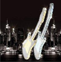 Wholesale Modern minimalist stainless steel creative Pendant Crystal Guitar shape chandeliers bar restaurant and costume shop k9 cryst pendant