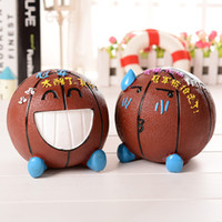 ECO Friendly basketball birthday decorations - Piggy Bank Basketball Crying Expression Desktop Decoration Cartoon Piggy Bank Plastic Coin Box Creative Gift Child Creative Birthday Gift Ch
