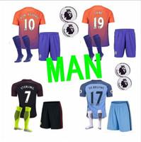 Wholesale 2016 Manchester City kit Suit Jerseys sock home Blue Away Black KUN AGUERO SANE GUNDOGAN Shirts