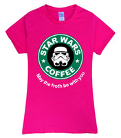 angels funny - Cool star war coffee Summer new sexy t shirt Women brand tops harajuku tee pink shirt funny angel grunge femme black white