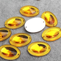 Wholesale mm Gold Oval Acrylic Flatback Sew On Rhinestone With Holes Silver Base Sewing On Rhinestones