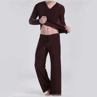 Wholesale Brand Clothing Ice Silk pyjamas men satin bathrobe Loose sleepwear Leisure Sports Cloth yoga Suit pyjama set Tops Pants
