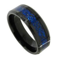 La promoción de la fábrica vende al por mayor el anillo de dedo del mens de la joyería de la manera del anillo del carburo de tungsteno del embutido del dragón de 8m m