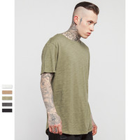 Crew Neck bamboo tees - New Mens Blank Bamboo T Shirts Fashion Short Sleeve LongLine Tsihrts For Men Long Line Tall Tee Shirts Curved Hem