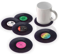 Wholesale 6 set Retro Vinyl CD Record Drinks Coasters Home Table Cup Mat Creative Decor Coffee Drink Placemat set free ship